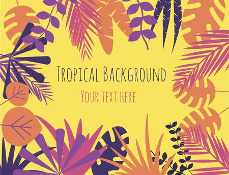 Tropical Plants Bright Colorful Background Copy Space 向量圖像