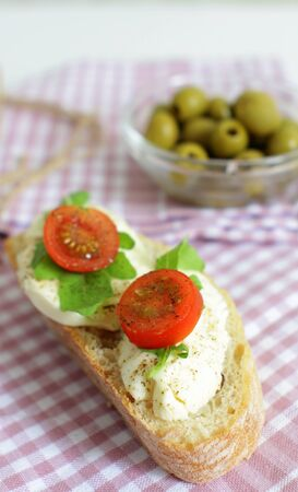 Ciabatta Sandwich with Mozzarella Cherry Tomatoes and Rucola 版權商用圖片