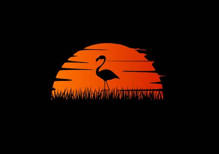 Flamingo in the sunset flat silhouette