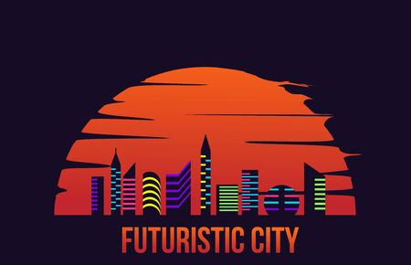 Moder Futuristic City in the Sunset Flat Style 向量圖像