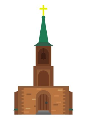 Isolated church frontal view vector art