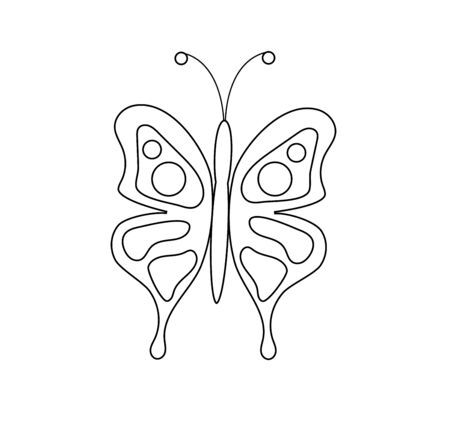 Coloring Page for Children Butterfly. Teaches color combination and drawing.