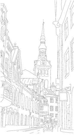 Old Tallinn Street Sketch