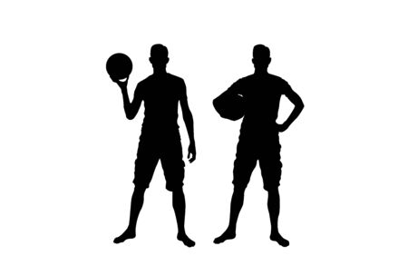 Silhouette of Basketball Player Isolated on White 向量圖像