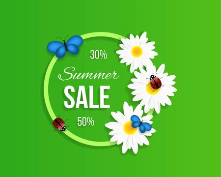 Summer Sale Round Banner with White Camomiles 向量圖像