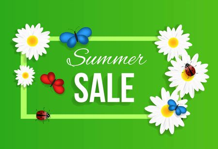 Summer Sale Square Banner with White Camomiles