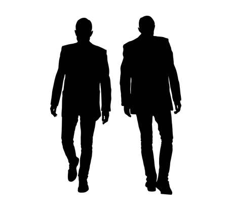 Silhouette of Businessman in Suit Walking Isolated