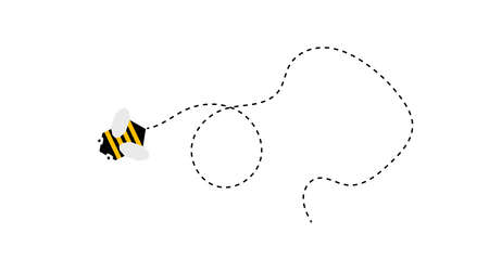 Abstract Bee Flight Trajectory Isolated on White 向量圖像