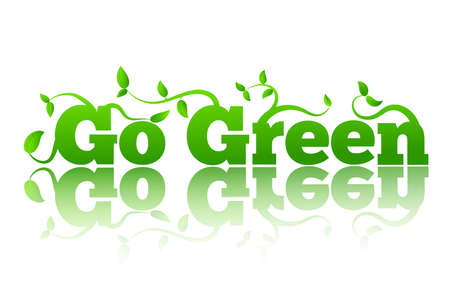 Go Green Letters with Leaves and Reflection