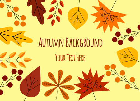 Colorful Autumn Frame Background Flat Copy Space
