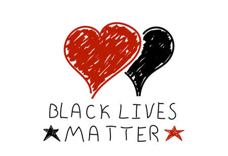 Black Lives Matter Hand Drawn Hearts Isolaetd on White