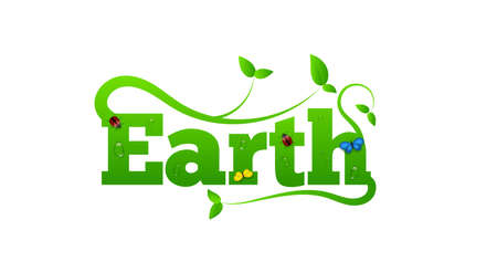 Earth Letters with Green Leaves and Insects. Ecology and Green Lifestyle Concept Vector. 向量圖像