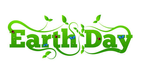 Earth Day Letters with Green Leaves and Insects. Ecology and green lifestyle concept vector.