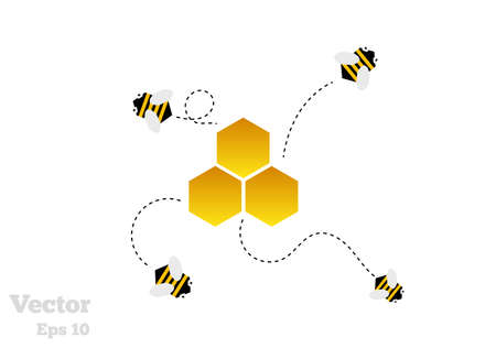 Abstract beehive illustration. Bees with flying traces leaving the honeycomb isolated on white.