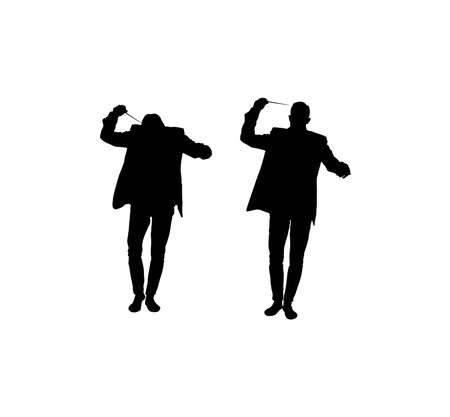 Silhouette of a conductor isolated on white. Vector illustration on topics of music and live performance.
