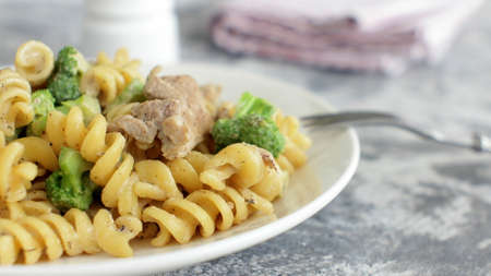 Organic Italian Pasta in Cream with Pork and Brocoli