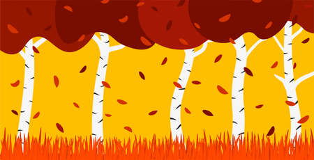 Birch Grove in Autumn Flat. Vector illustration on topics of nature and change of seasons. Çizim