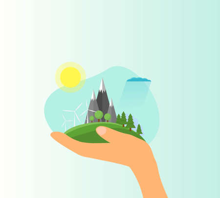 Hand Holding Green Eco Landscape Flat Style. Vector illustration on topic of nature preservation and green technologies.