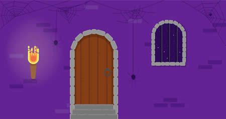 Dungeon Door with a Small Window at Night Flat Style. Halloween Holiday Vector Illustration. Çizim