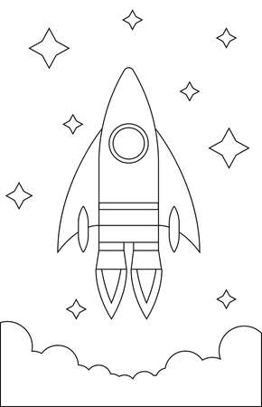 Rocket in the Sky Children Coloring Page. Choose your colors.