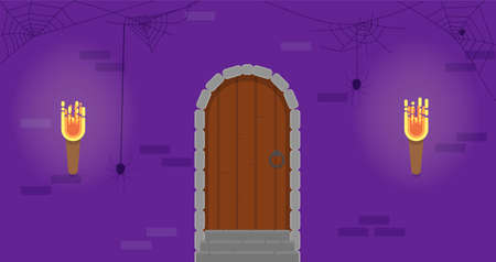 Dungeon Door With Torches Flat Style. Halloween Holiday Vector Illustration.