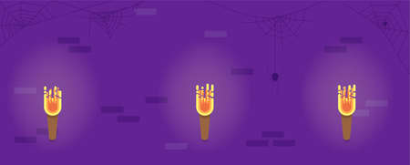 Dungeon Wall with Torches Flat Style. Halloween Holiday Vector Illustration.
