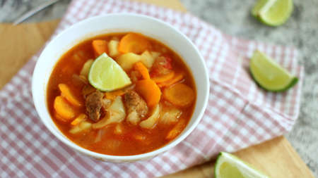 Home Made Vegetable and Pork Stew with Lime Stok Fotoğraf