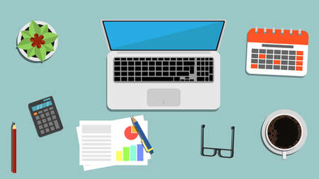 Office Table with Laptop and Appliances Top View Flat Illustration