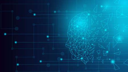 Human Head Hologram Futuristic Artificial Intelligence Technology Background in Blue Banco de Imagens