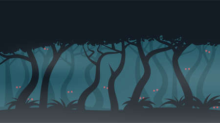 Scary Eyes of Fantasy Creatures in Misty Night Forest Иллюстрация