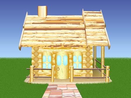 Decoratieve houten huis tegen de blauwe hemel