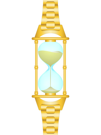 sand watch: Gold sand watch with link bracelet (humorous picture)