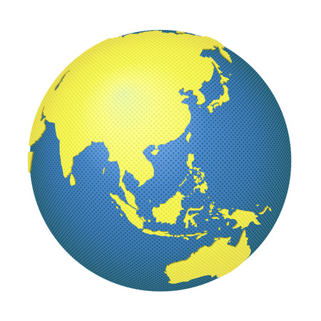 east asia: Globe with Asia and Australia.