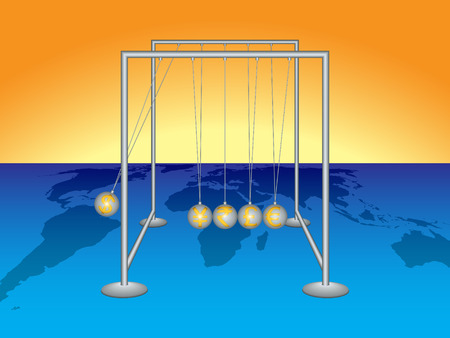 clicker: Currency war. Executive ball clicker (Newtons cradle) Illustration