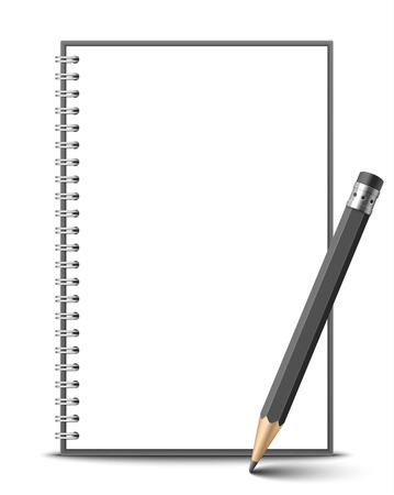 Notebook and pencil Ilustração