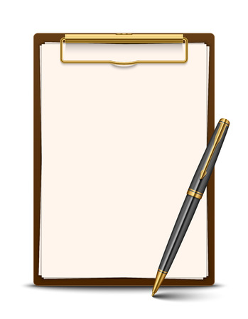 Clipboard and pen isolated on white background