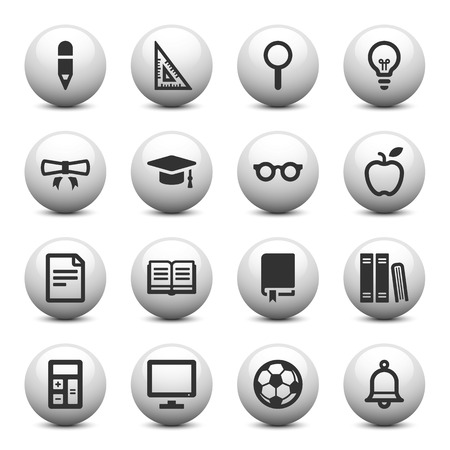 Education icons on gray buttons