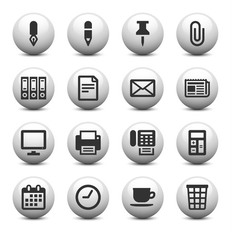 Office icons on gray buttons Vector