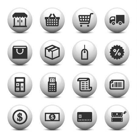 Shopping icons on gray buttons