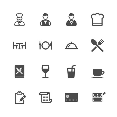 Restaurant iconen Stock Illustratie