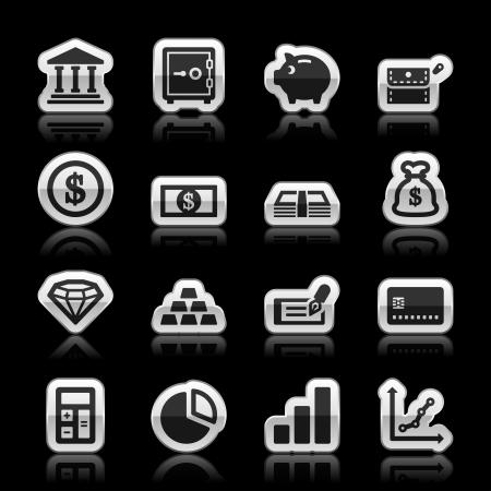 chequera: Iconos de las finanzas, ilustración vectorial