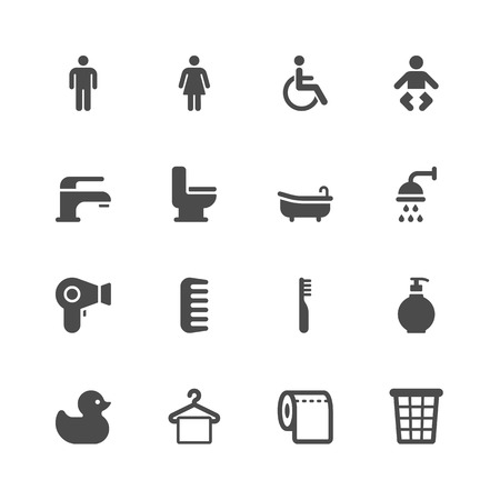 flush toilet: Bathroom icons