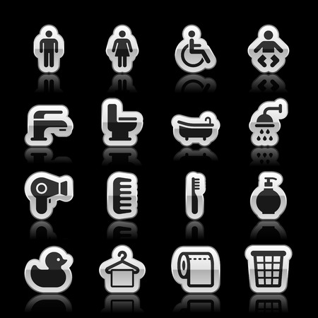 Bathroom icons, vector illustration Vector
