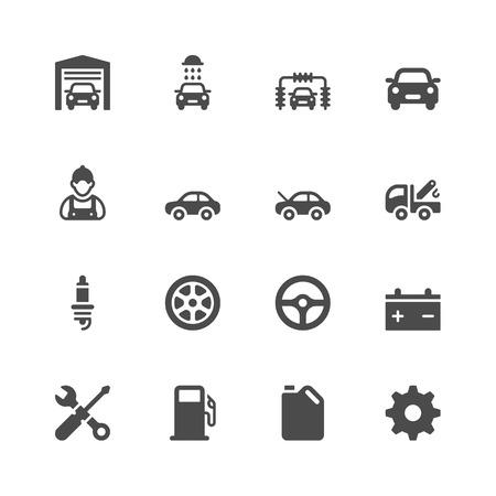 estacion de gasolina: Iconos de coches de servicio Vectores