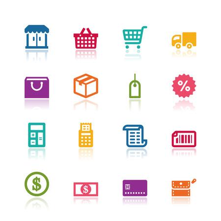 Winkelen iconen Stock Illustratie