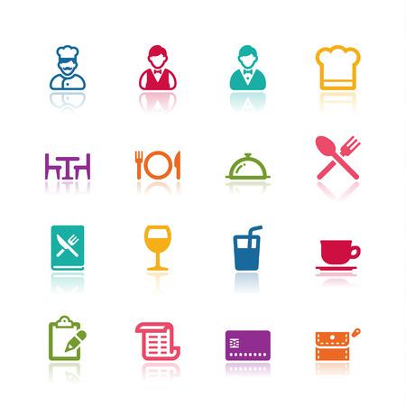 Icônes sur les restaurants Banque d'images - 34135754