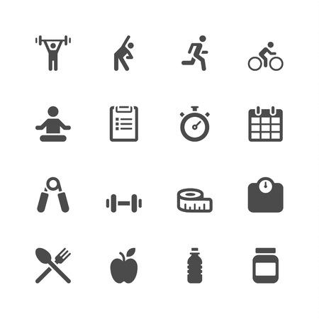 levantando pesas: Iconos para entrenamiento Vectores