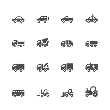 camion de basura: Iconos de coches Vectores