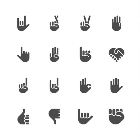 index finger: Hand icons Illustration