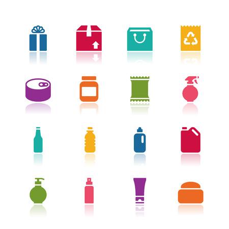 alimentos y bebidas: Iconos del paquete Vectores
